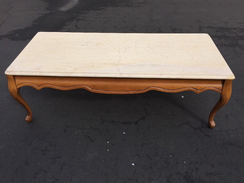 French provincial marble top coffee table for Stone topped coffee tables