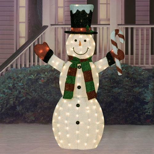 60 lighted pre lit christmas candy cane snowman sculpture for Pre lit outdoor decorations