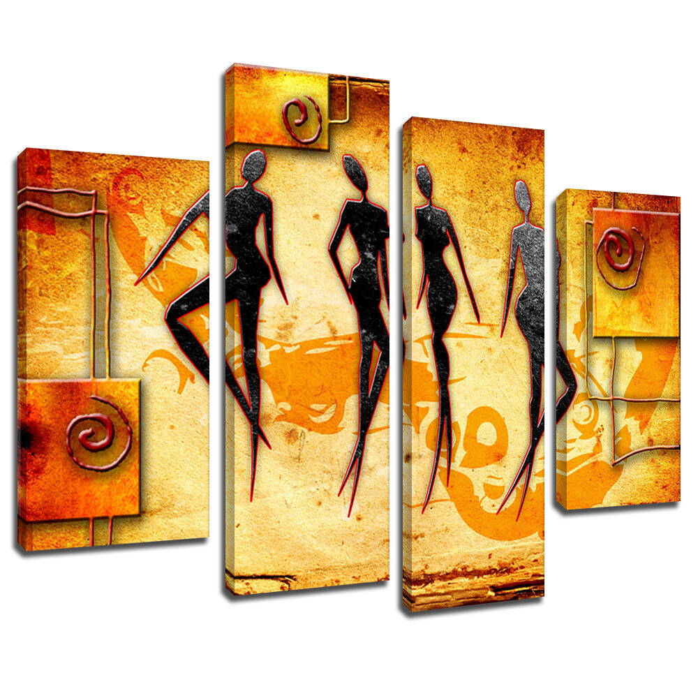 MAB533 AFRICAN TRIBAL Abstract Canvas Wall Art Multi Panel Split ...