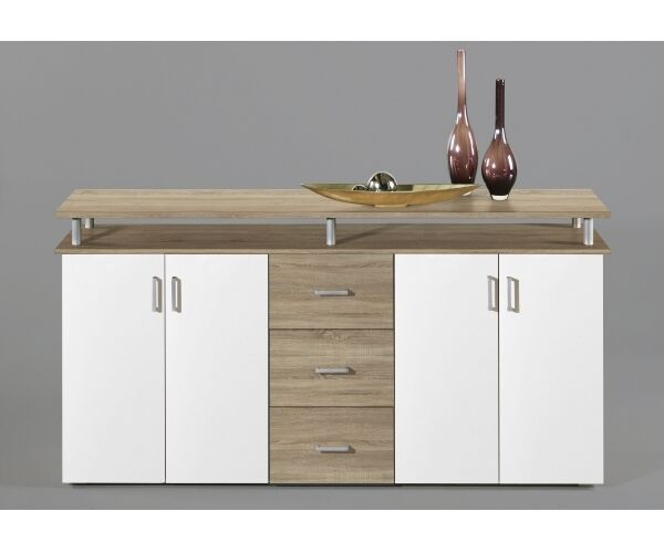 highboard kommode sideboard eiche s gerau dekor wei. Black Bedroom Furniture Sets. Home Design Ideas