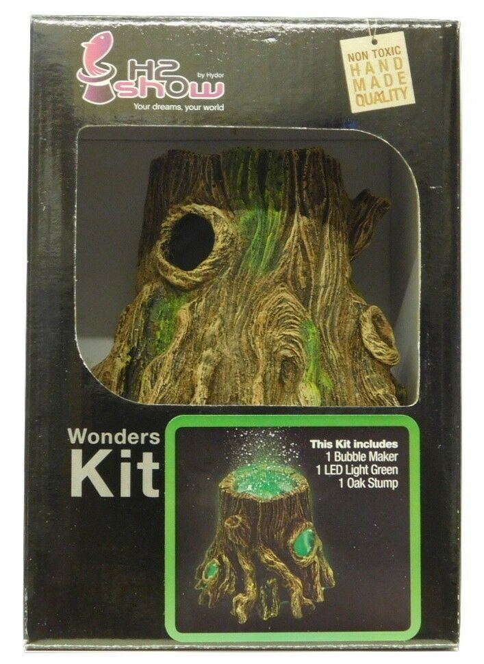 Underwater Aquarium Oak Stump + Green Led  & Air Bubble Maker Complete Kit