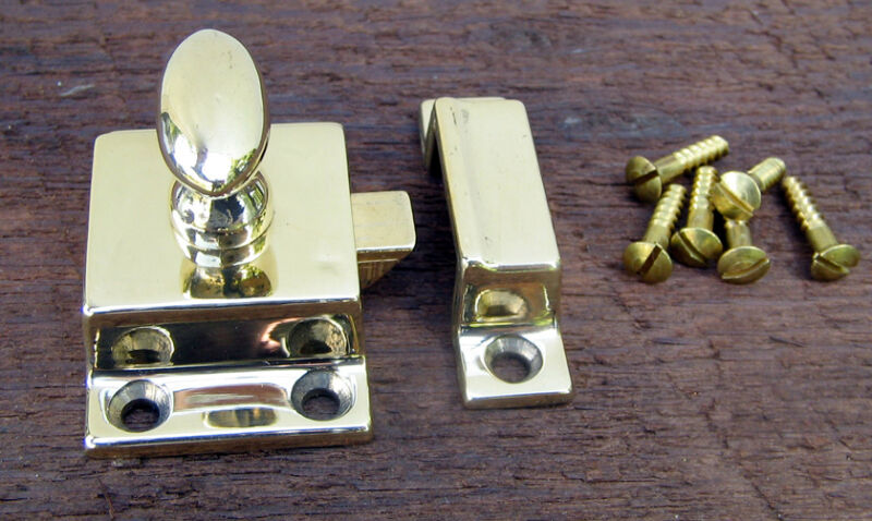 Reproduction  Solid Brass Cupboard Latch (polished brass, lacquer free finish)