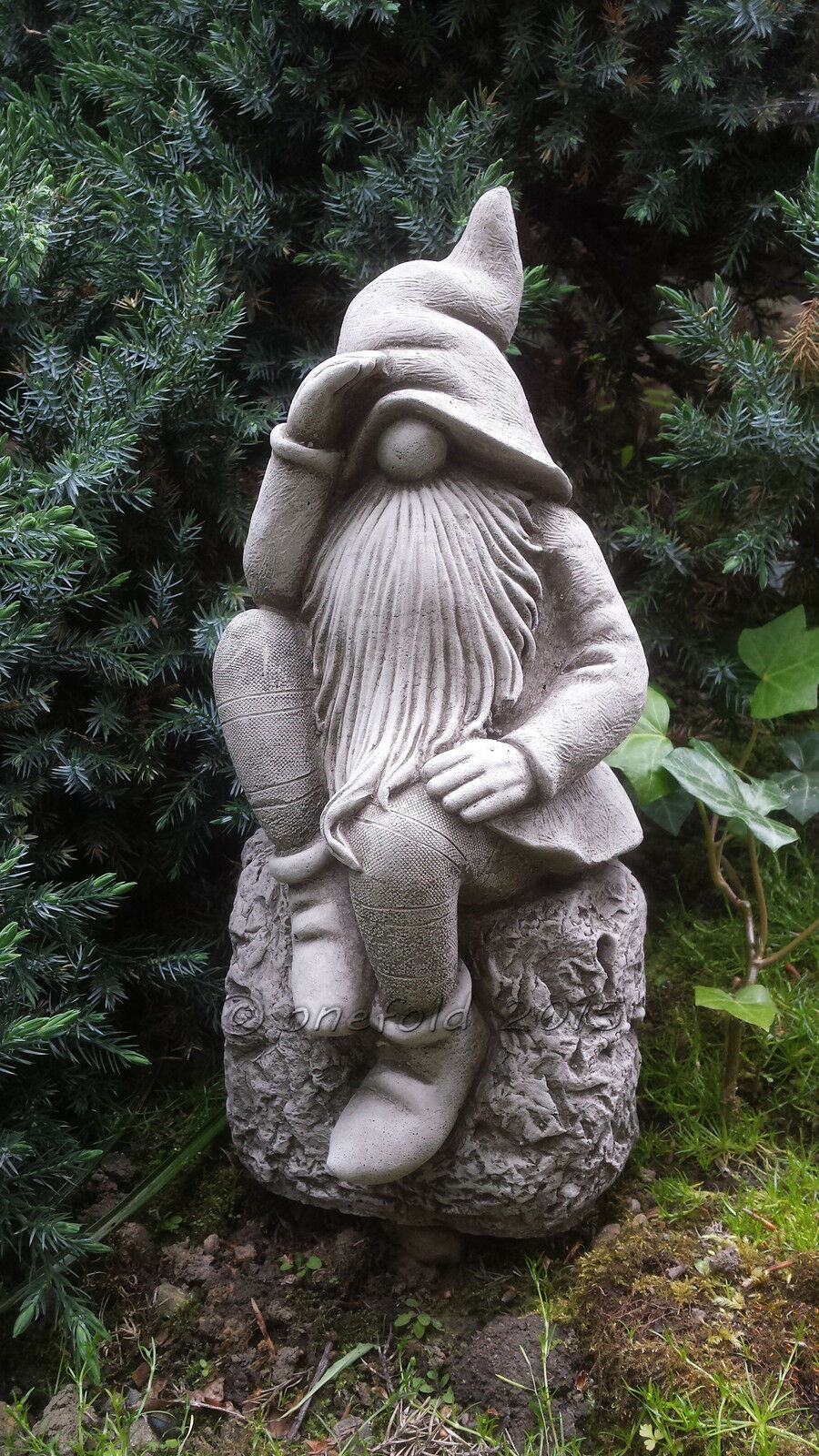 thinker pixie gnome hand cast stone garden ornament statue. Black Bedroom Furniture Sets. Home Design Ideas