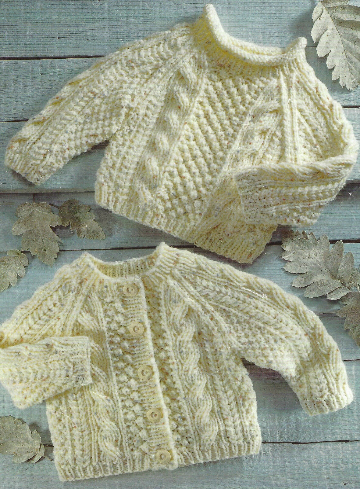 Aran Knitting Pattern Cardigan Sweater with cables Baby Girls Boys 16-26