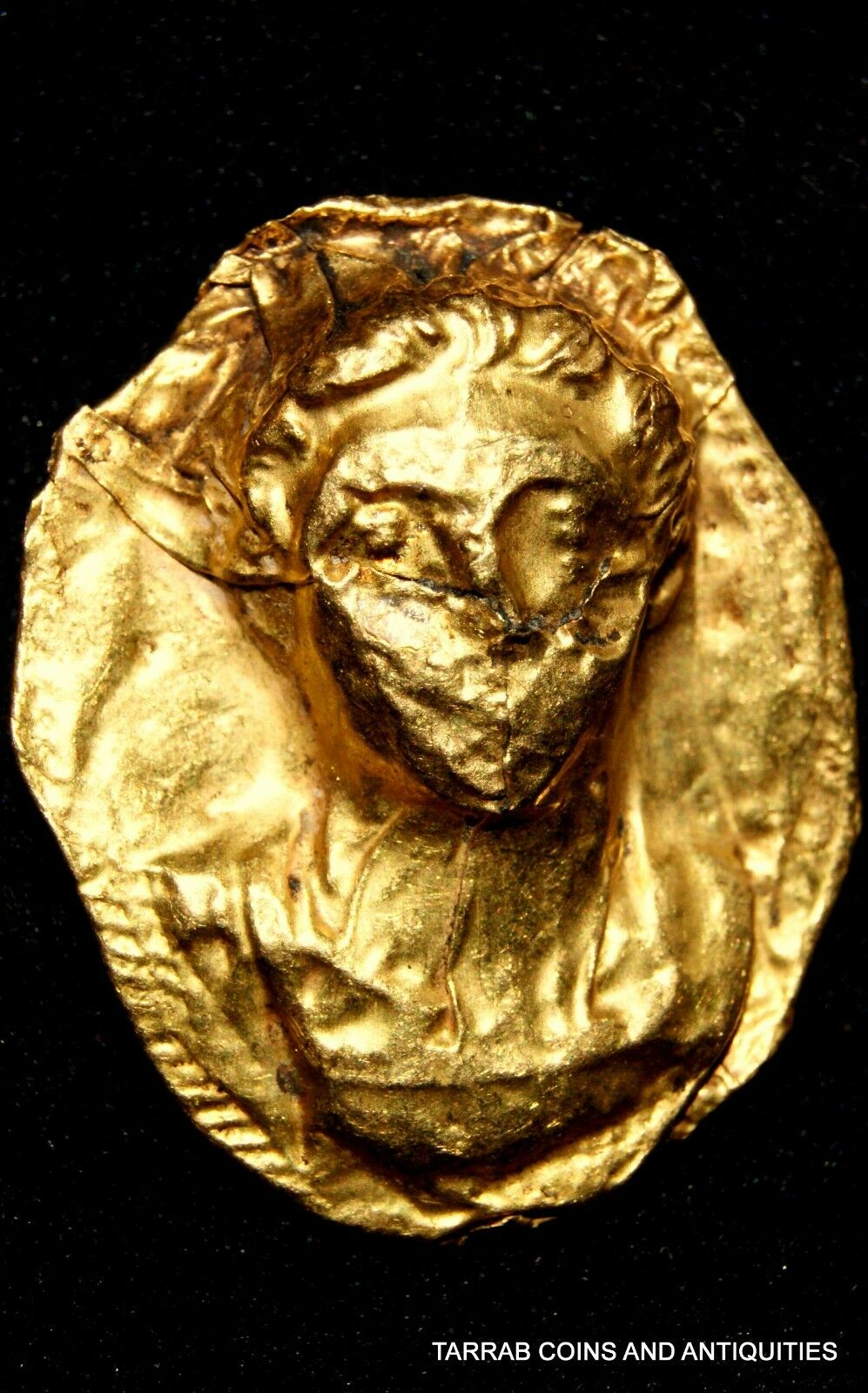 Ancient Roman Gold Relief Pendant With The Bust Of A Roman Prince; Scarce Piece!
