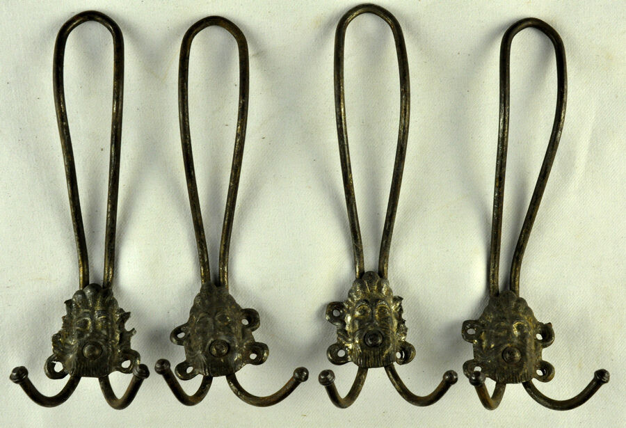 Antique Iron French Victorian Ornate Coat 4 Hooks Hangers