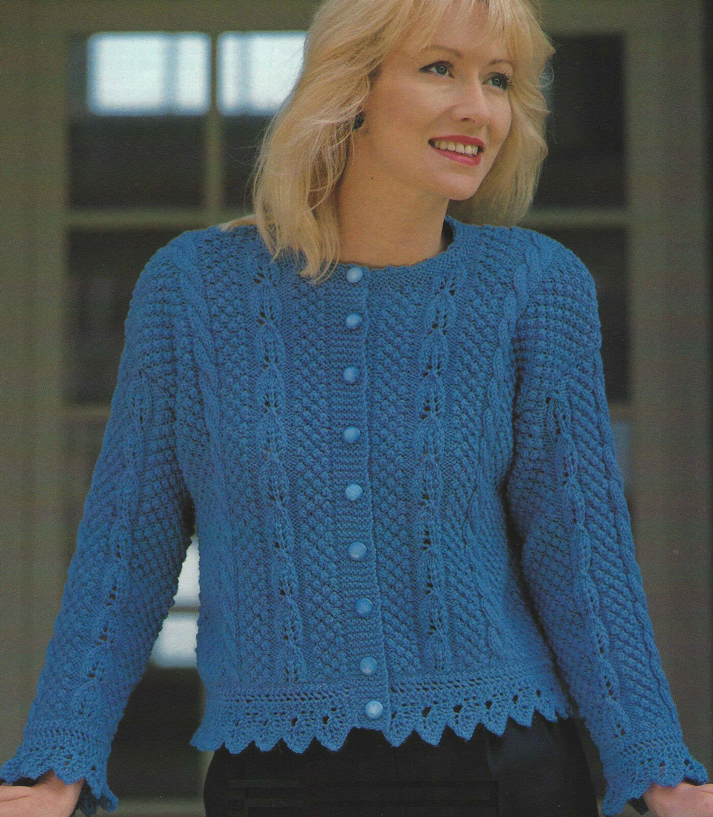LADIES KNITTING PATTERN Cardigan with scalloped lace edge. 30-40\