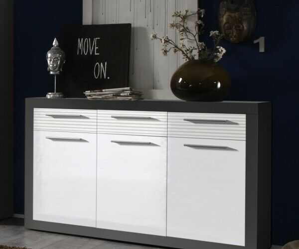 kommode beistellkommode sideboard kolibri grau weiss. Black Bedroom Furniture Sets. Home Design Ideas