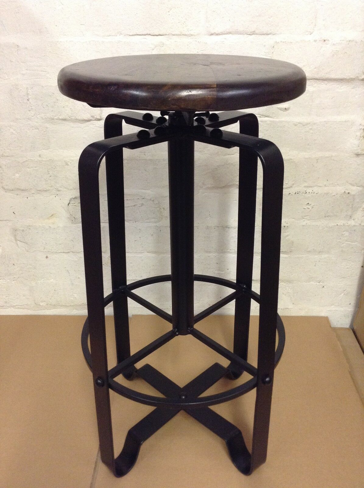 Industrial bar stool wooden top shabby vintage chic kitchen side table seat 156