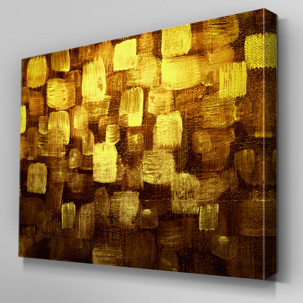 Wall art canvas brown : Ab modern gold yellow brown canvas wall art abstract