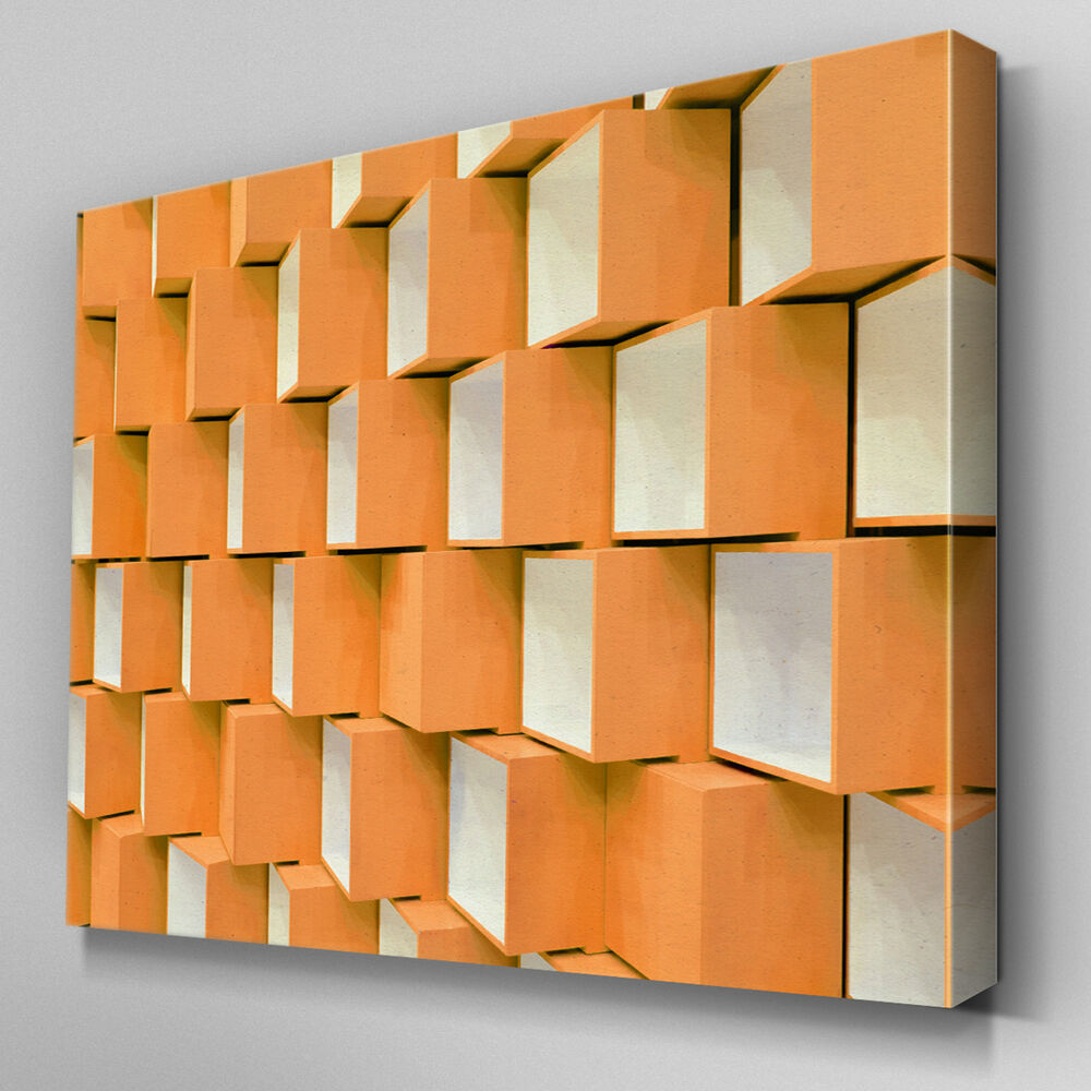 Ab714 modern 3d geometric orange canvas wall art abstract for Large 3d wall art
