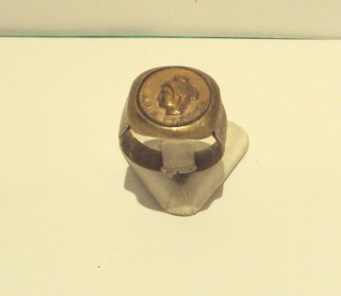 VINTAGE BRONZE RING WITH HEAD OF SAINT SOFIA FROM THE EARLY 20th CENTURY # 464