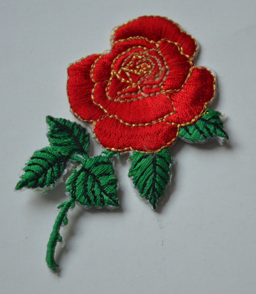 Red rose flower tattoo embroidered cloth sew iron on patch