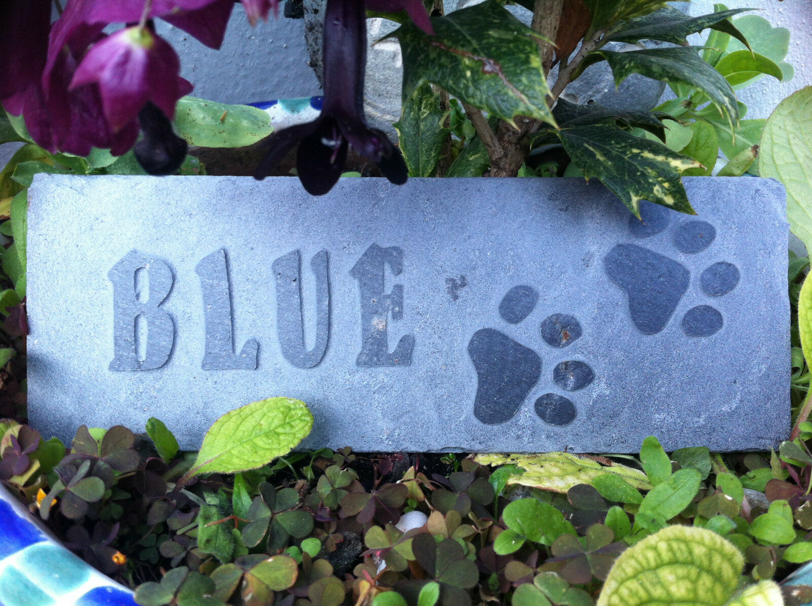 Carved by hand slate Pet memorial garden plaque, marker, dog, cat, personal