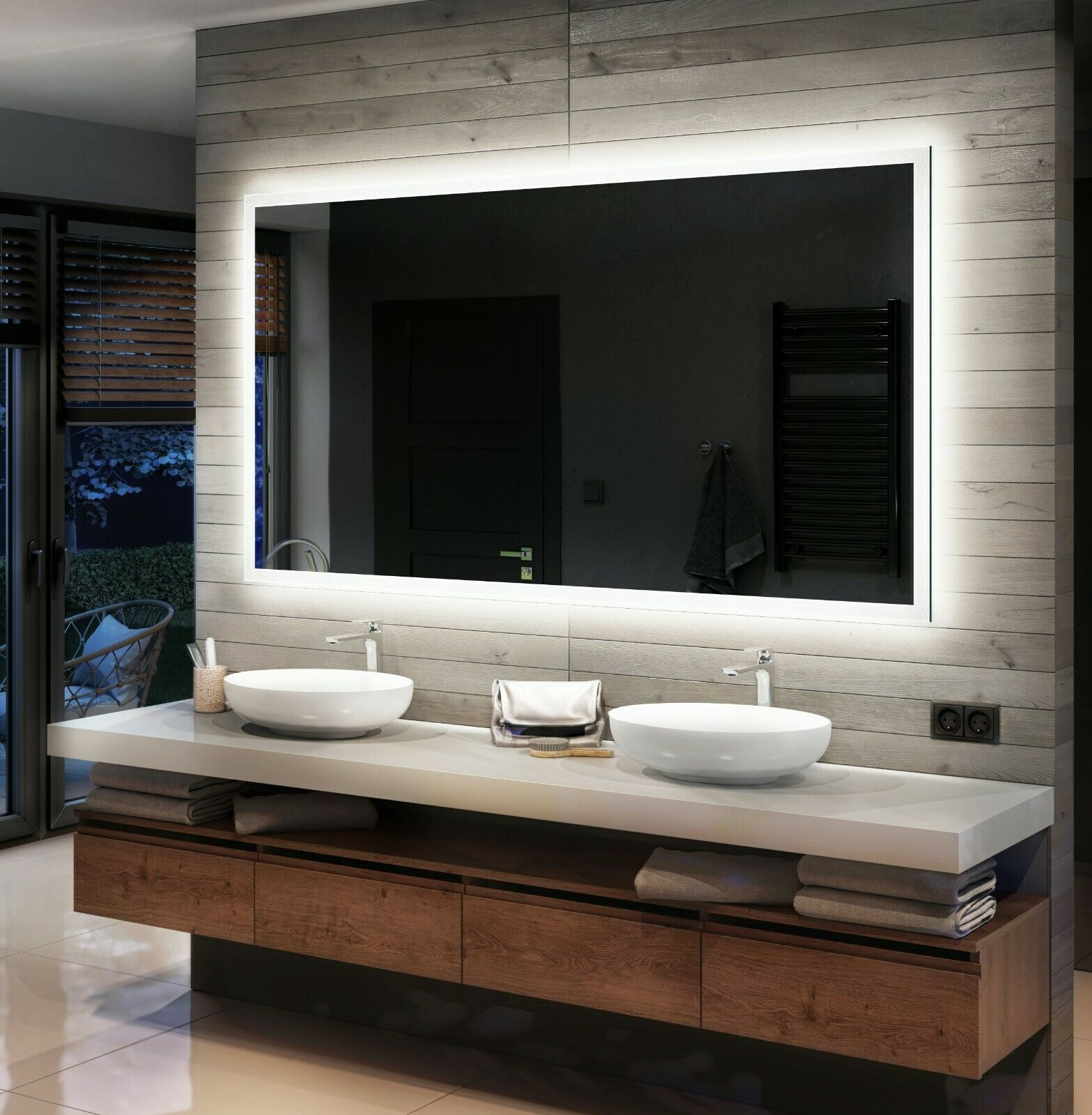 beau miroir salle de bain lumineux led sur mesure l01 eur 75 00 picclick fr. Black Bedroom Furniture Sets. Home Design Ideas