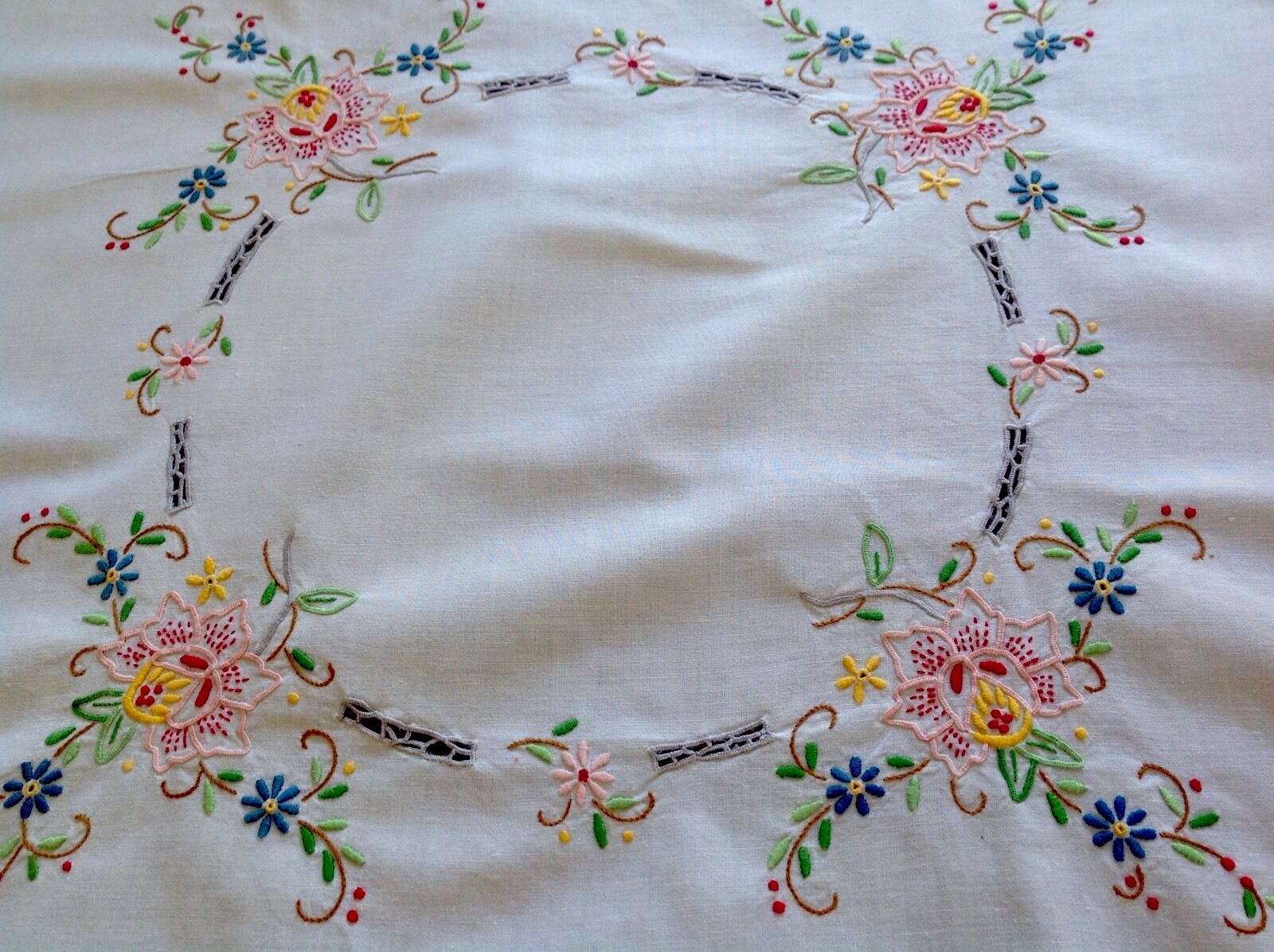 Vintage hand embroidered cream cotton table cloth