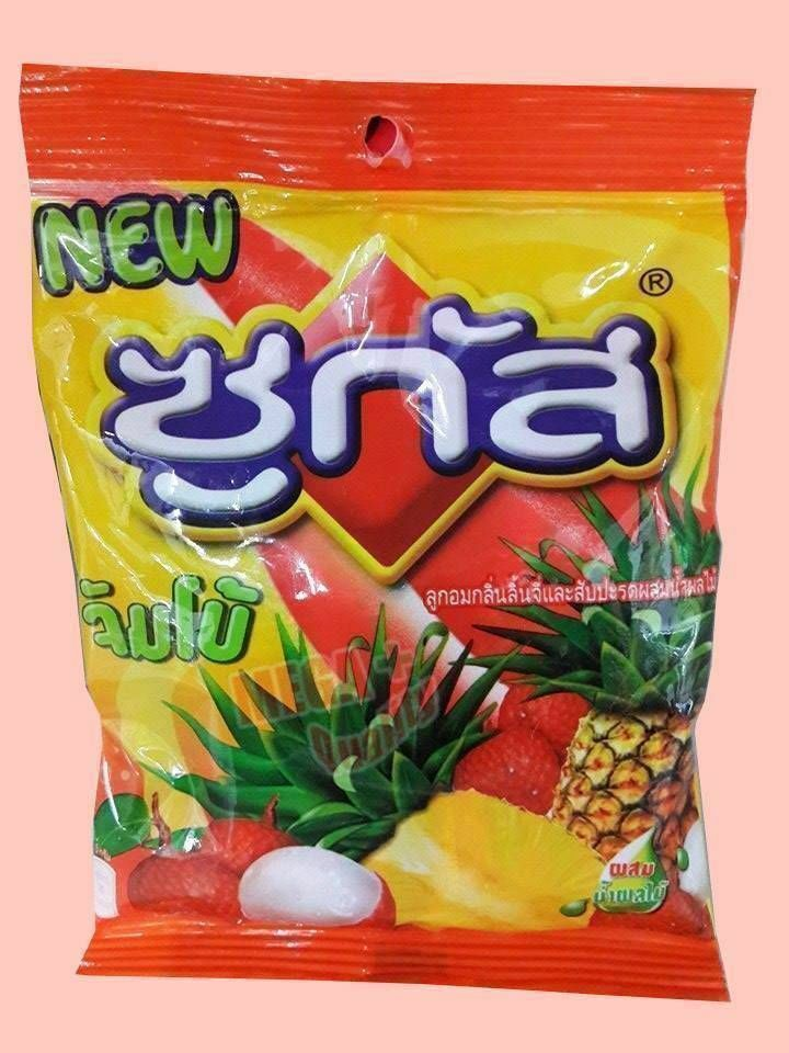 SUGUS Chewy JUMBO Candy Lychee Pineapple Flavoured with Fruit Juice 50g