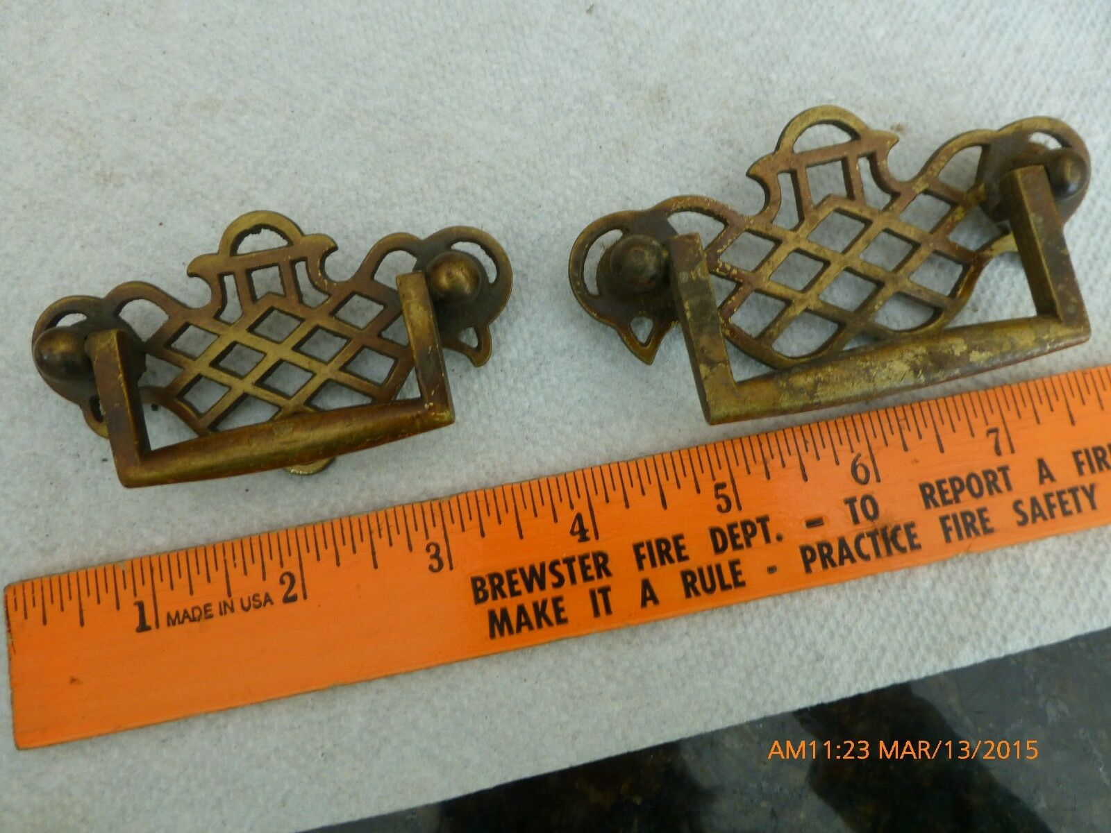 2 Vintage Hardware Dresser Pull Cabinet Drawer Handles brass 1 large & 1 small