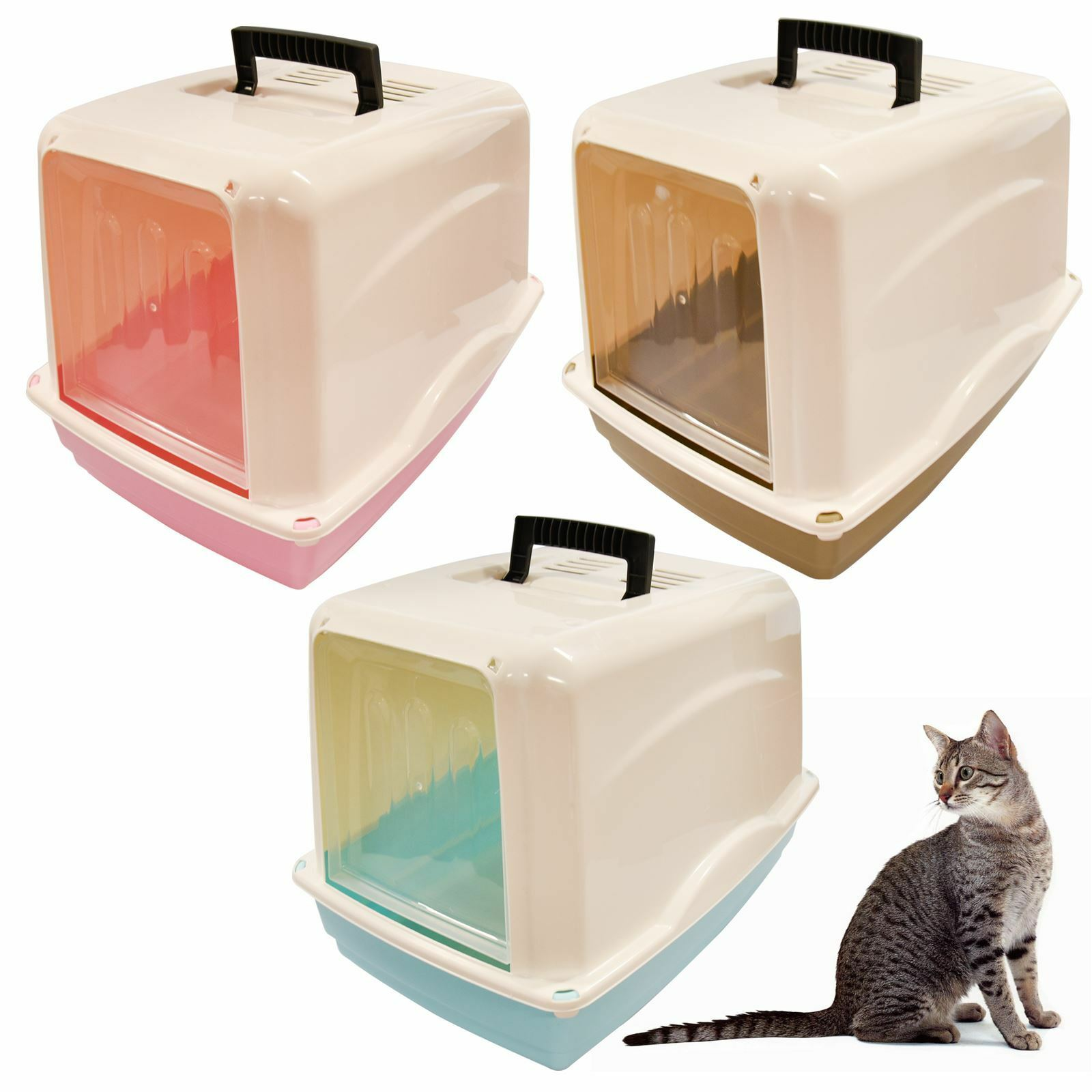 Pet Cat Hooded Litter Box Tray Toilet Swing Door Carry Handle Large Portable