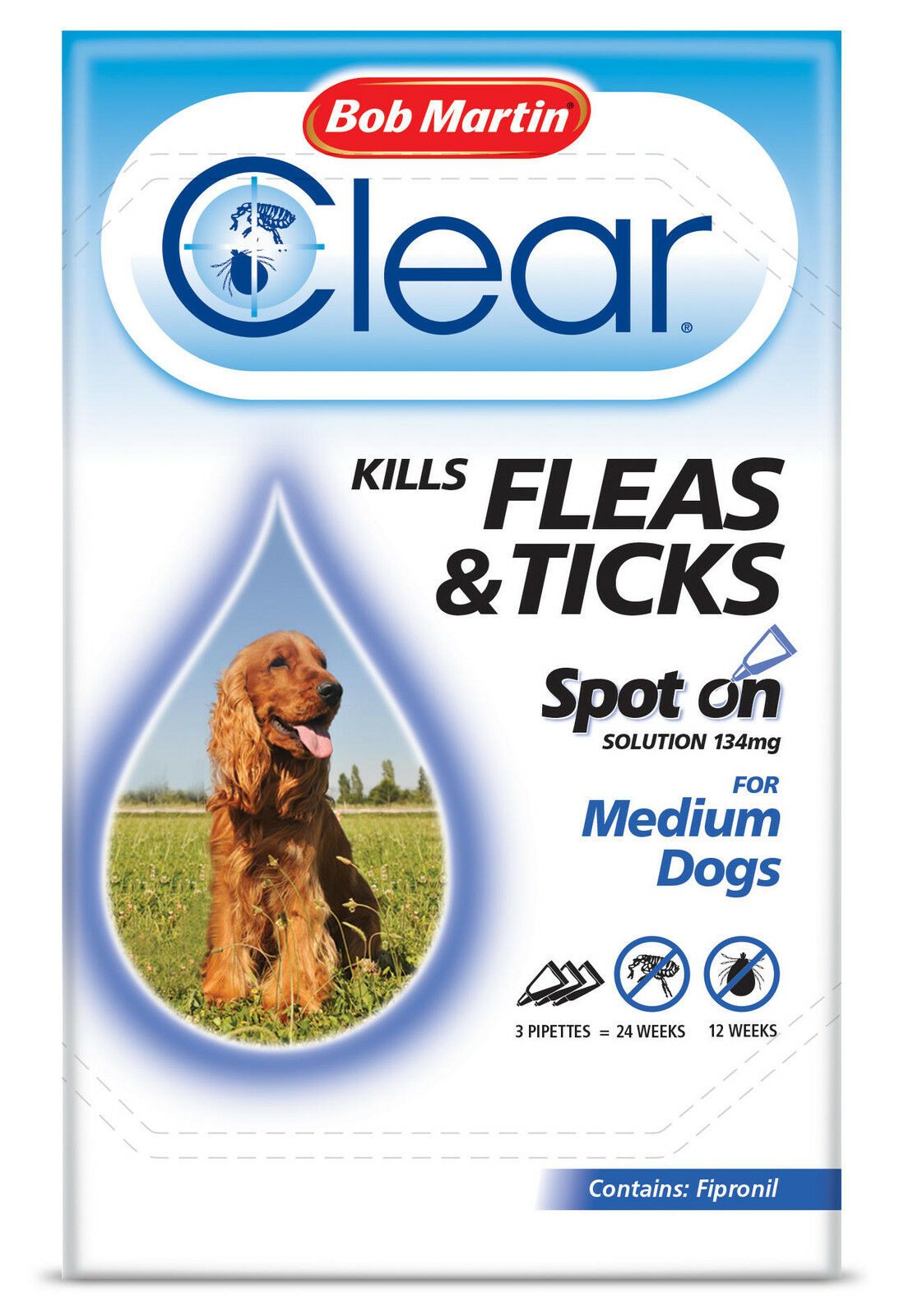 Bob Martin Clear Spot On Solution 3 x 134mg for Medium Dogs, Kills Fleas & Ticks