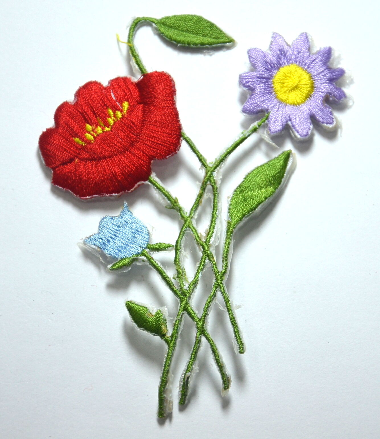 Meadow flowers poppy daisy embroidered sew iron on cloth
