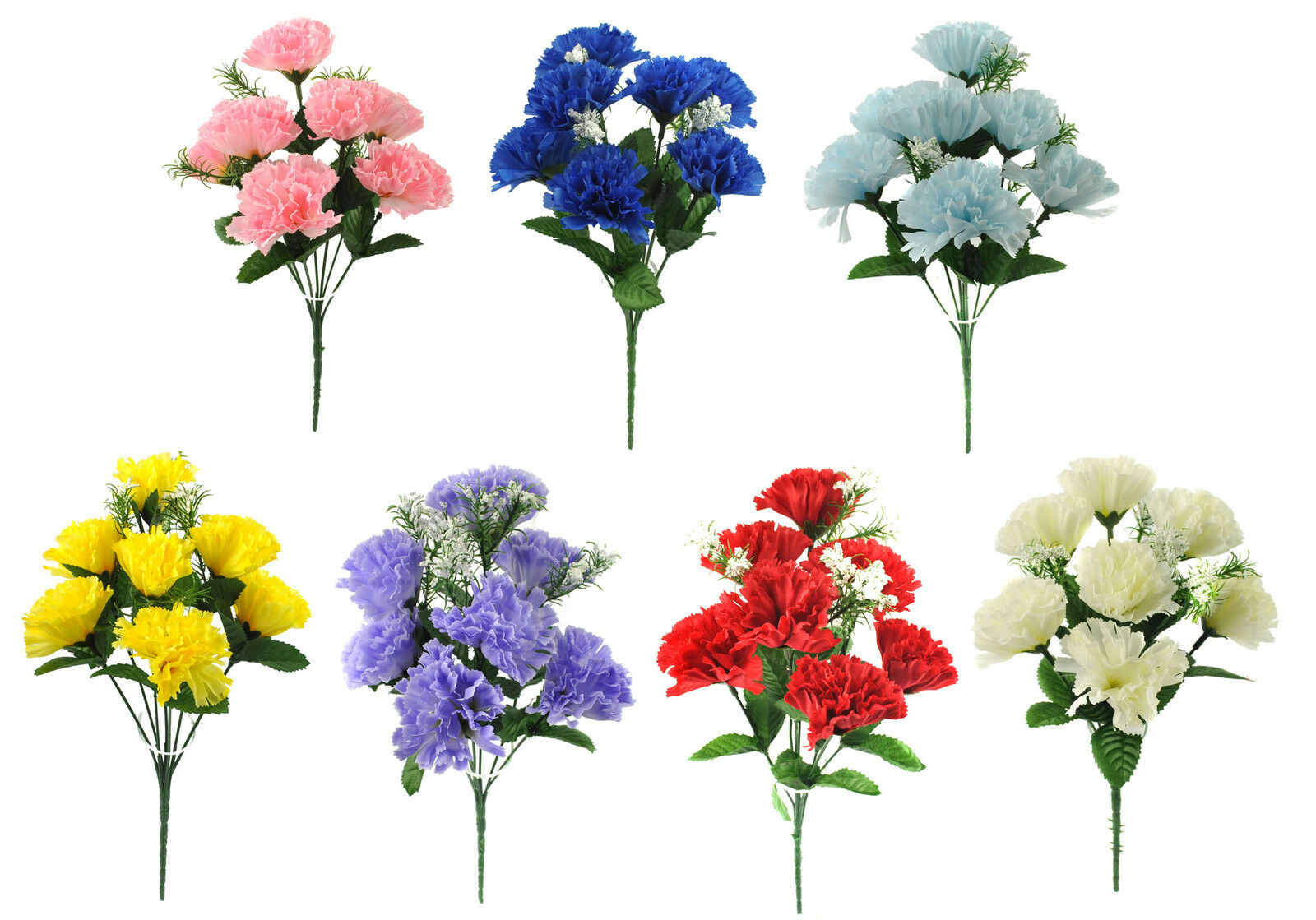 Artificial Silk Flowers Carnation Bunch 7 Colours Wedding Home Grave