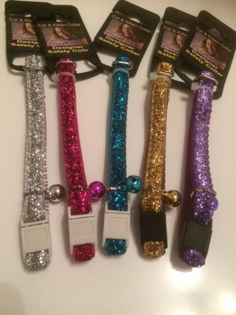 Glitter Sparkly Cat / Kitten Safety Collars - Pink, Blue, Purple, Silver, Gold