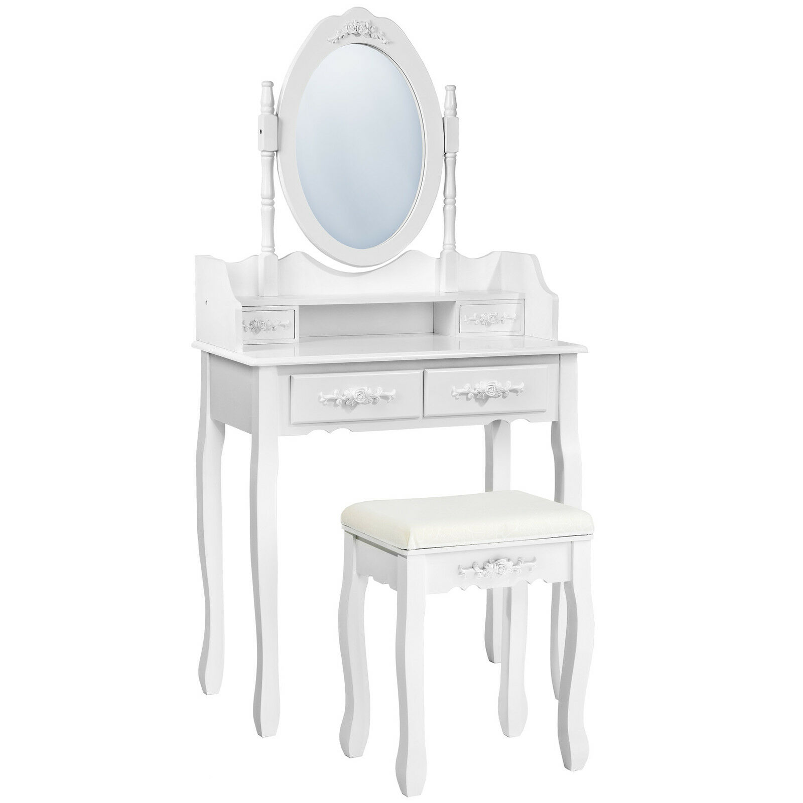 coiffeuse meuble table de maquillage tabouret commode avec miroir 4 tiroir blanc eur 175 90. Black Bedroom Furniture Sets. Home Design Ideas