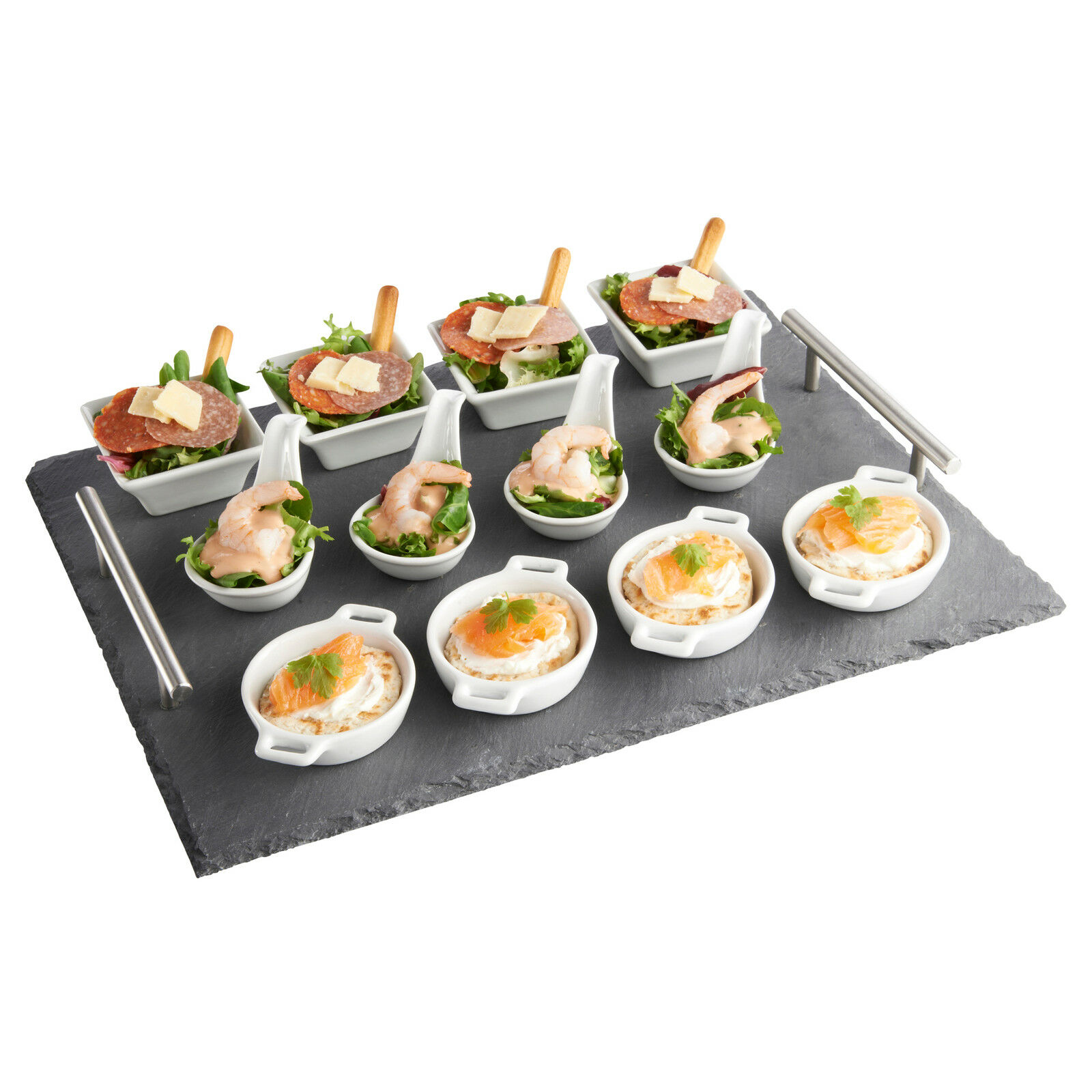 Vonshef 13 piece tapas canape slate serving tray with dish for Canape serving dishes