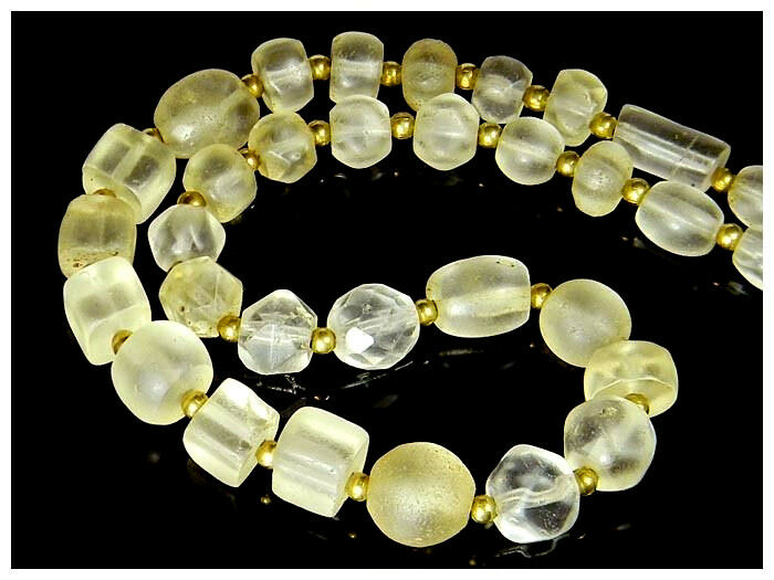 Ancient Quartz Rock Crystal Egg Square Cube Mix shape Middle East Bead Necklace