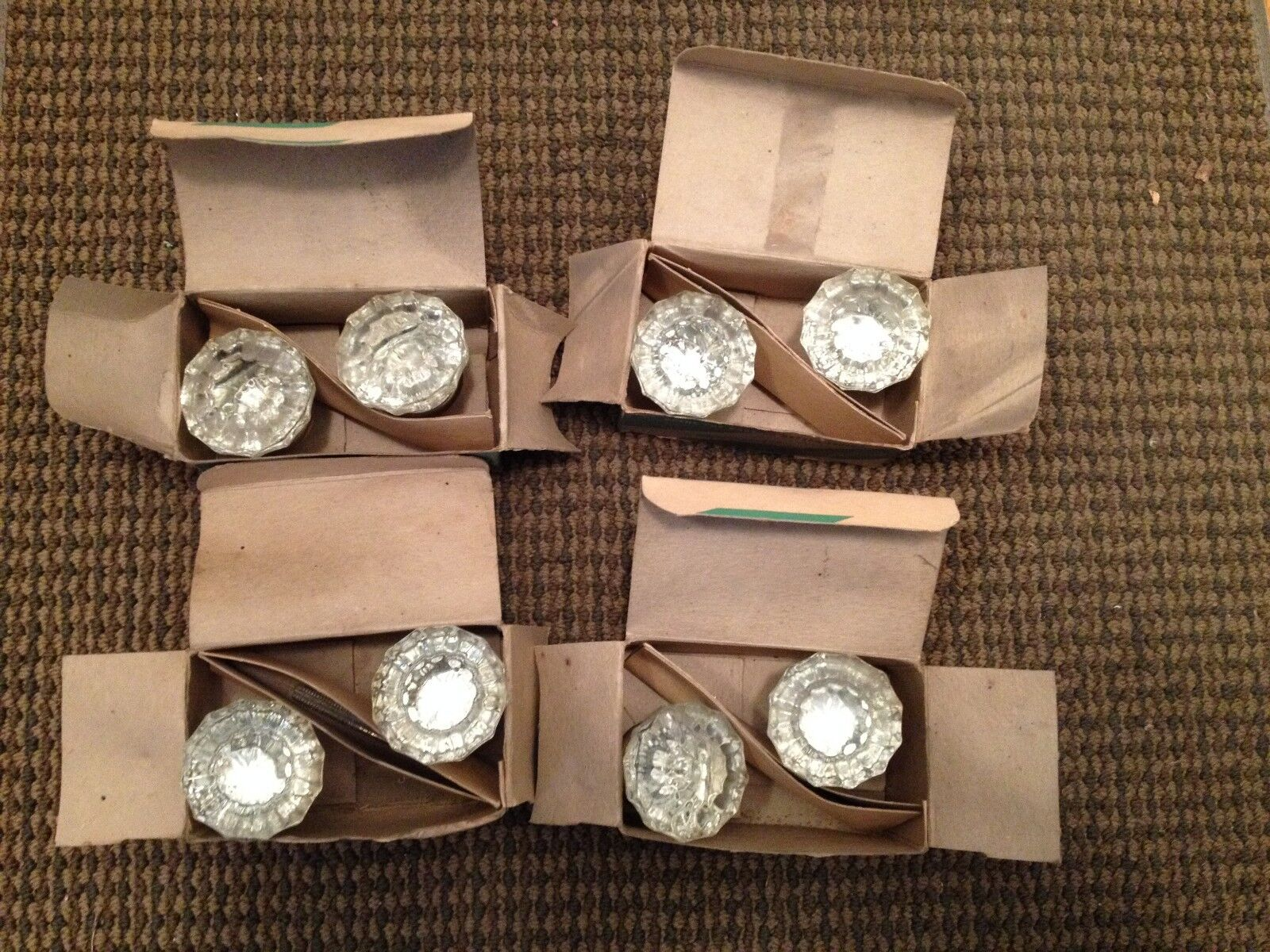 Vintage Tegco Glass Door Knobs Brass Finish 4 Pairs In Original Boxes Look New