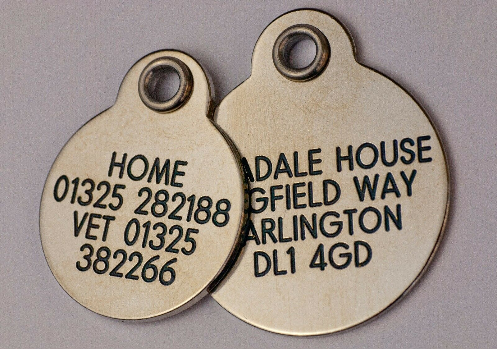 Deluxe ENGRAVED tags for Pets Brass or Nicron 2 sizes