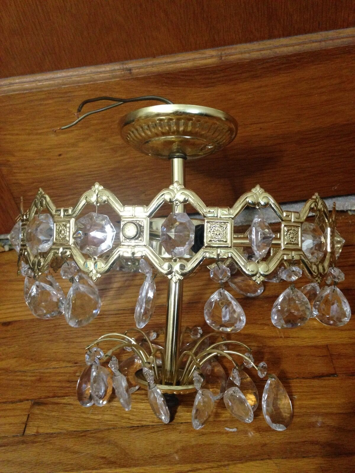 Vintage Gold Metal Light Fixture Ceiling Mount With Hanging Crystals Prisms