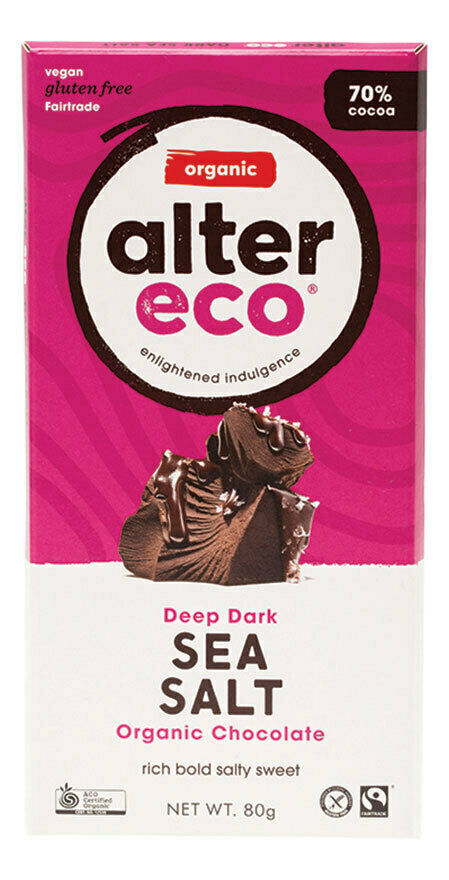 Organic Dark Sea Salt Chocolate 80g - Alter Eco