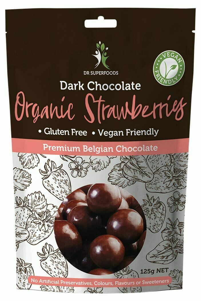 Dark Chocolate Coated Strawberries 125g - Dr Superfoods