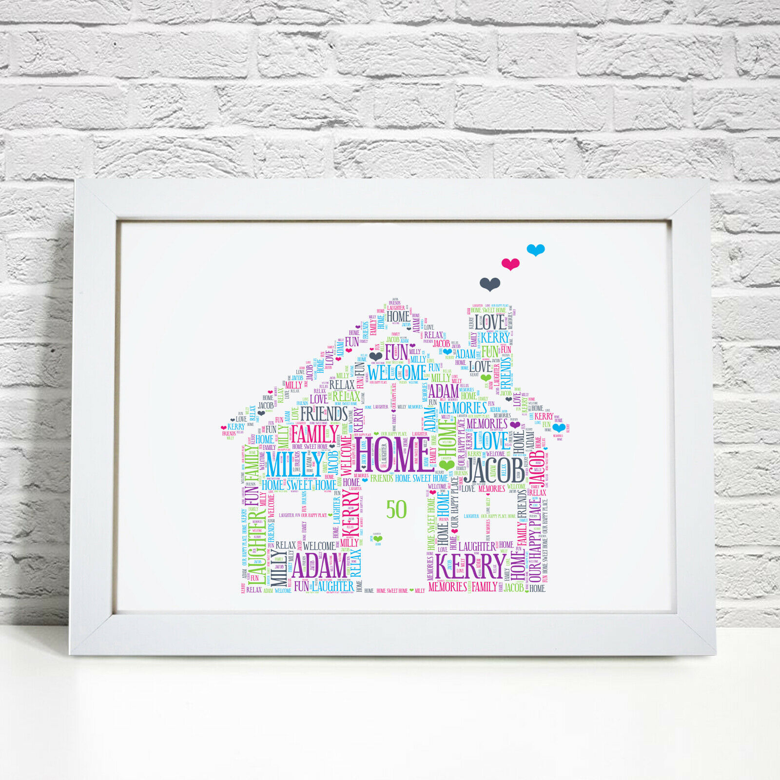 PERSONALISED WORD ART New Home Family House Warming Gift Picture ...