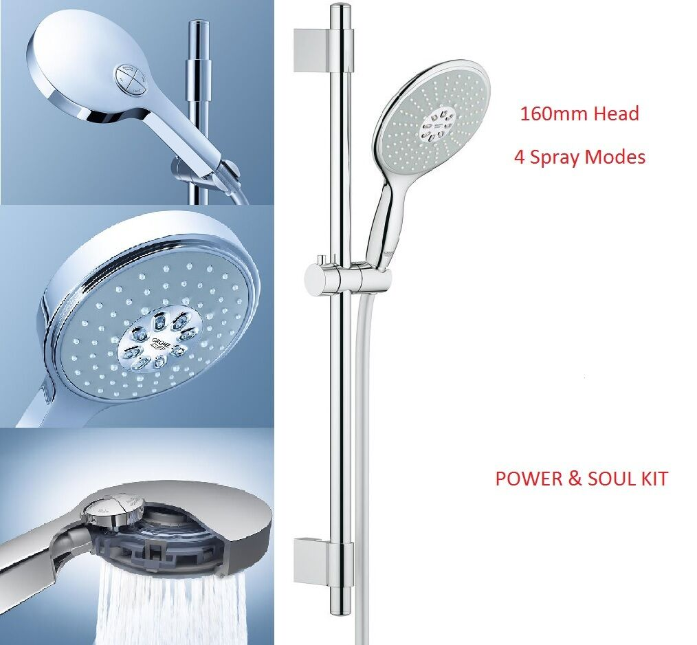 grohe power soul 160 shower riser rail kit 4 mode shower. Black Bedroom Furniture Sets. Home Design Ideas