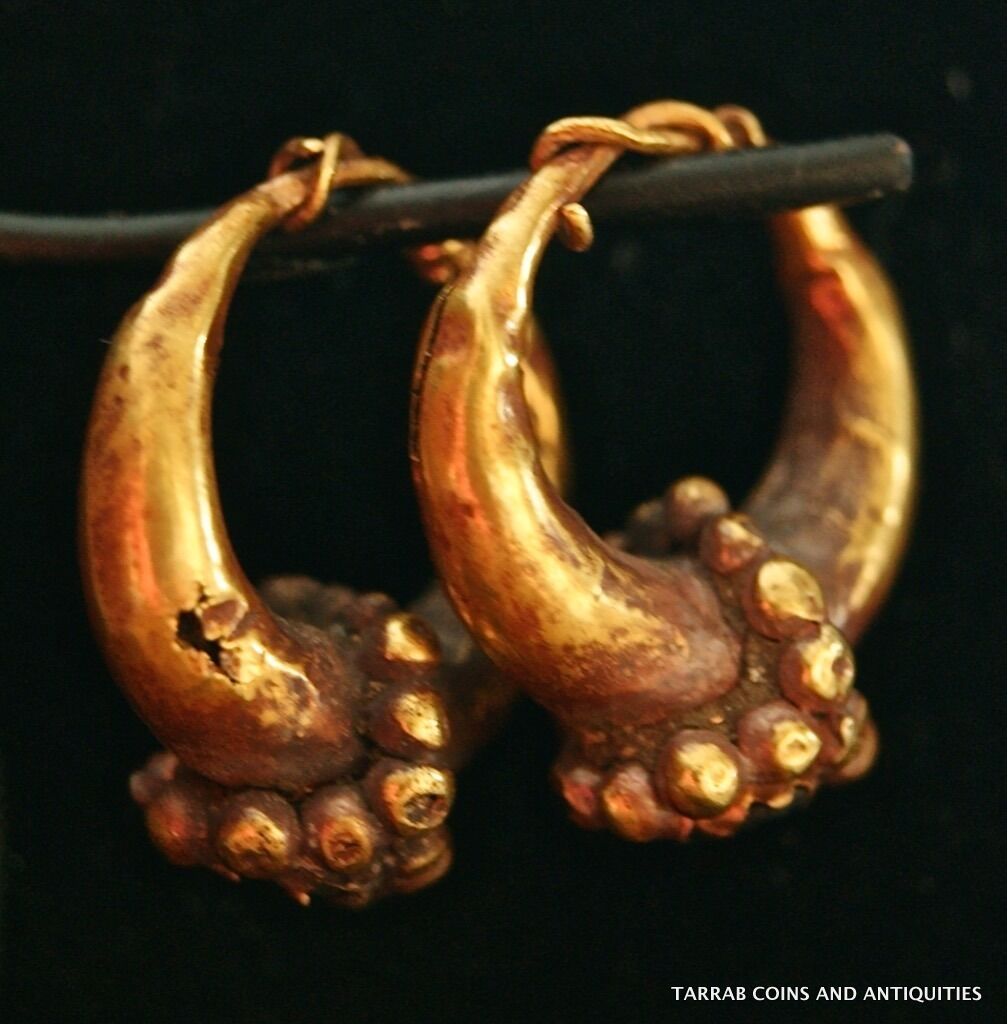 Ancient Roman-Byzantine Solid Gold Pair Earrings! Super Nice Pair! 100 Bc-100 Ad