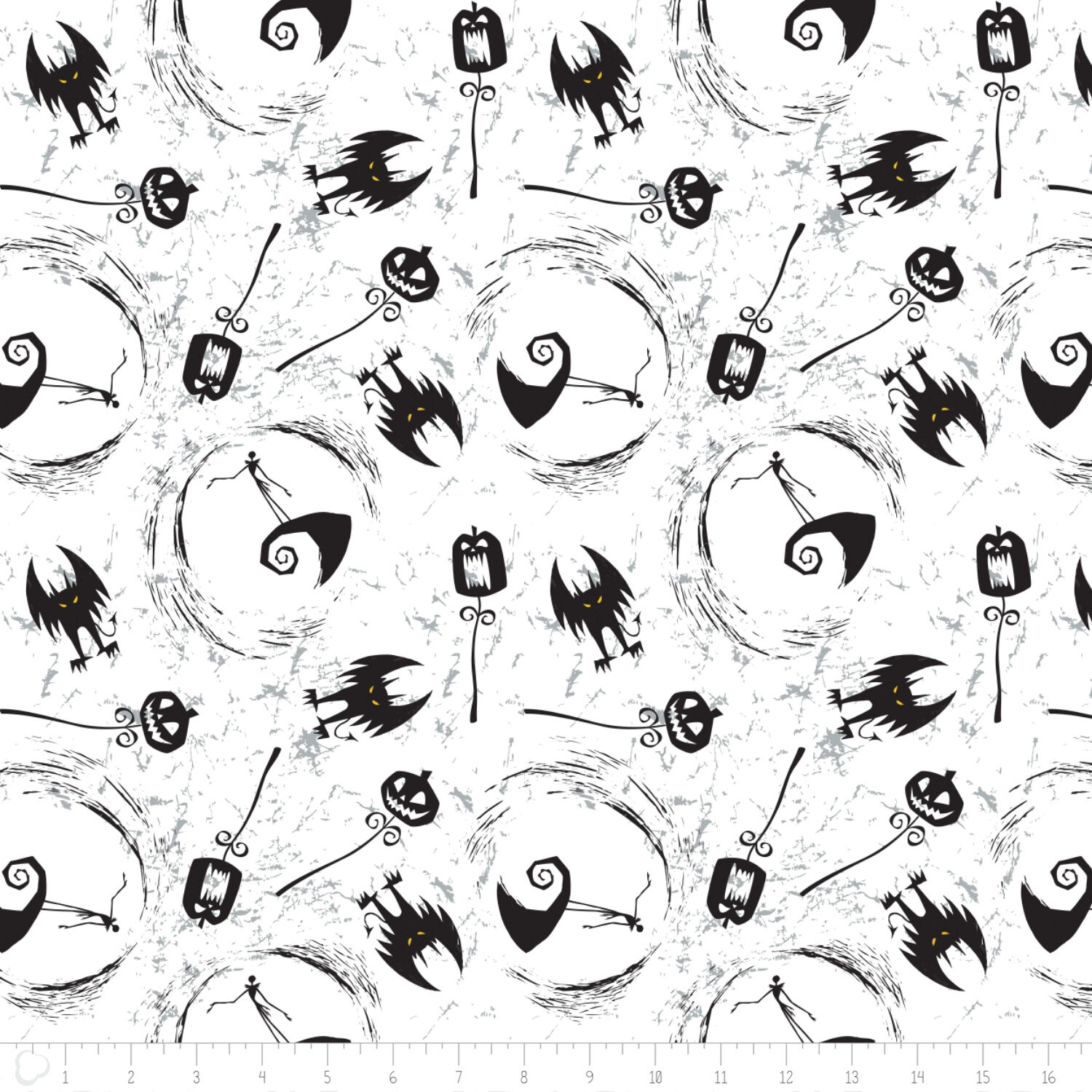DISNEY NIGHTMARE BEFORE Christmas On Hill White 100% Cotton fabric ...