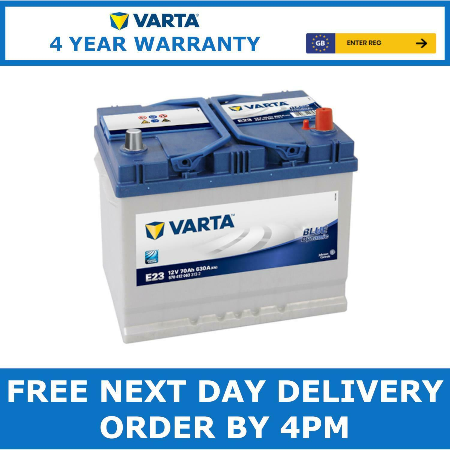 varta e23 blue dynamic heavy duty 068 car battery 70ah 630a 4 year warranty picclick uk. Black Bedroom Furniture Sets. Home Design Ideas