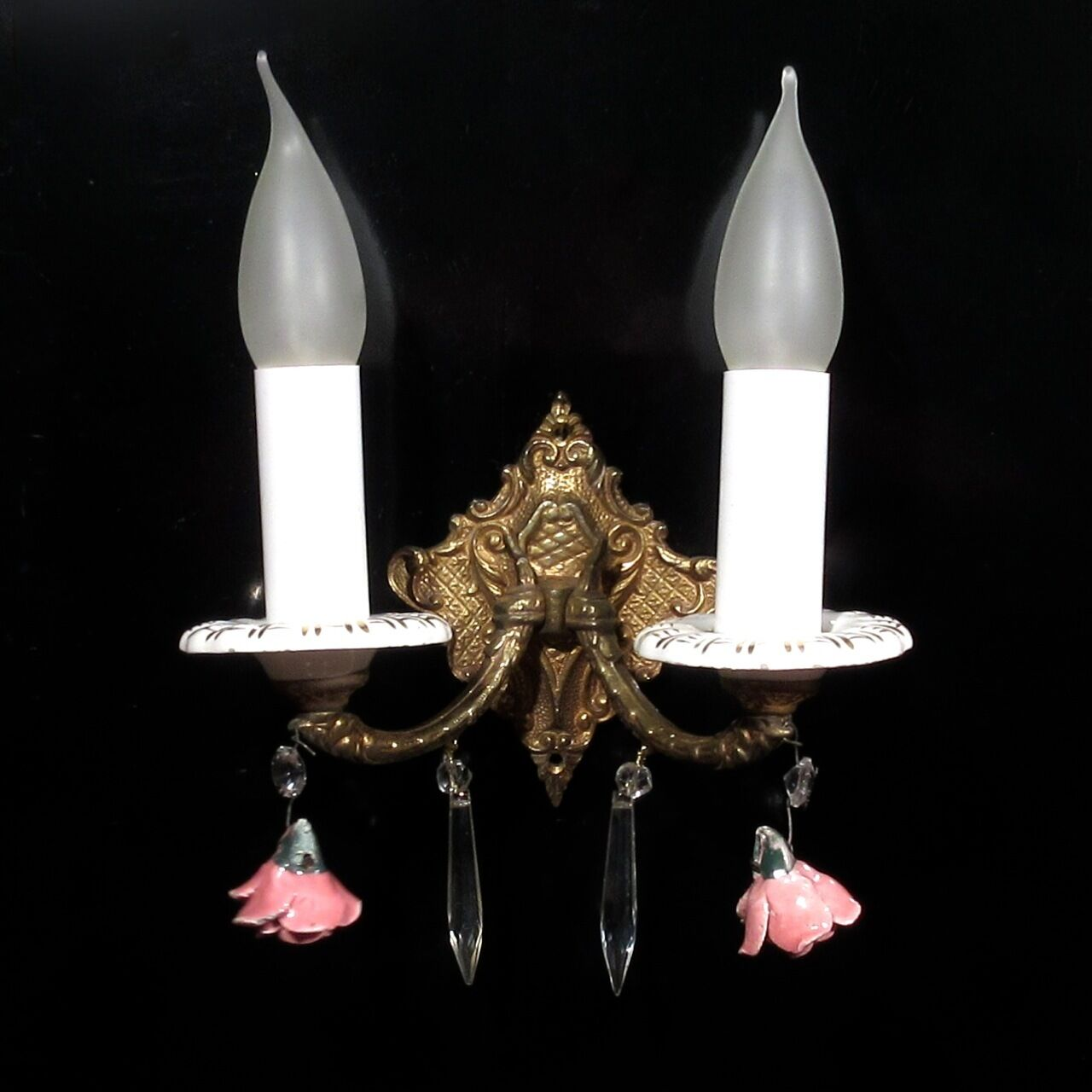 Vintage French Bronze Sconce, Crystal Prisms, Porcelain Flowers Roses & Bobeches