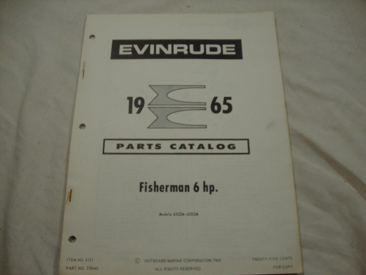 Evinrude outboard parts catalog manual 1965 Fisherman 6 HP 278645 1 of  3Only 1 available ...
