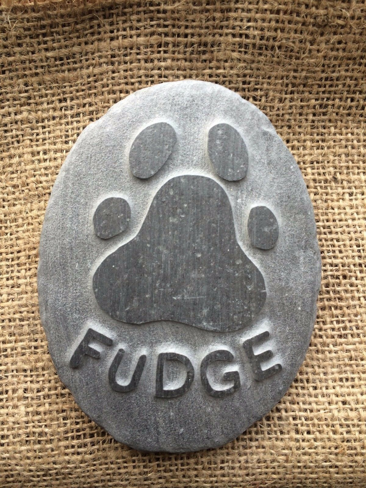 Personalised handcarved paw print & name in stone, pet memorial, dog, cat beach