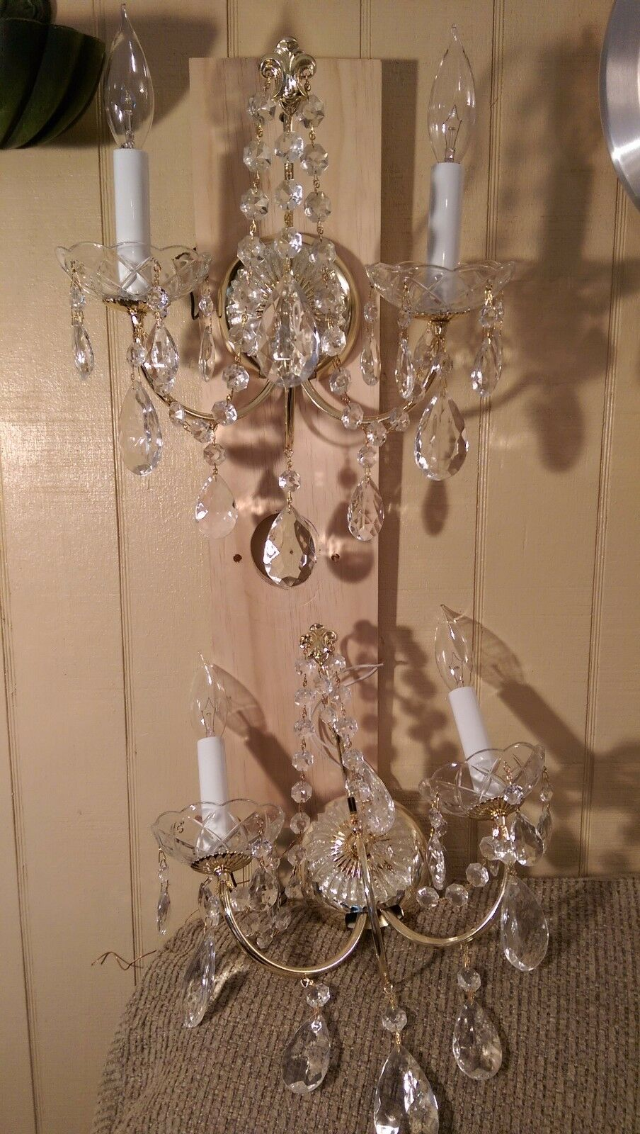 Pair of Awesome Crystal 2 Light Sconce