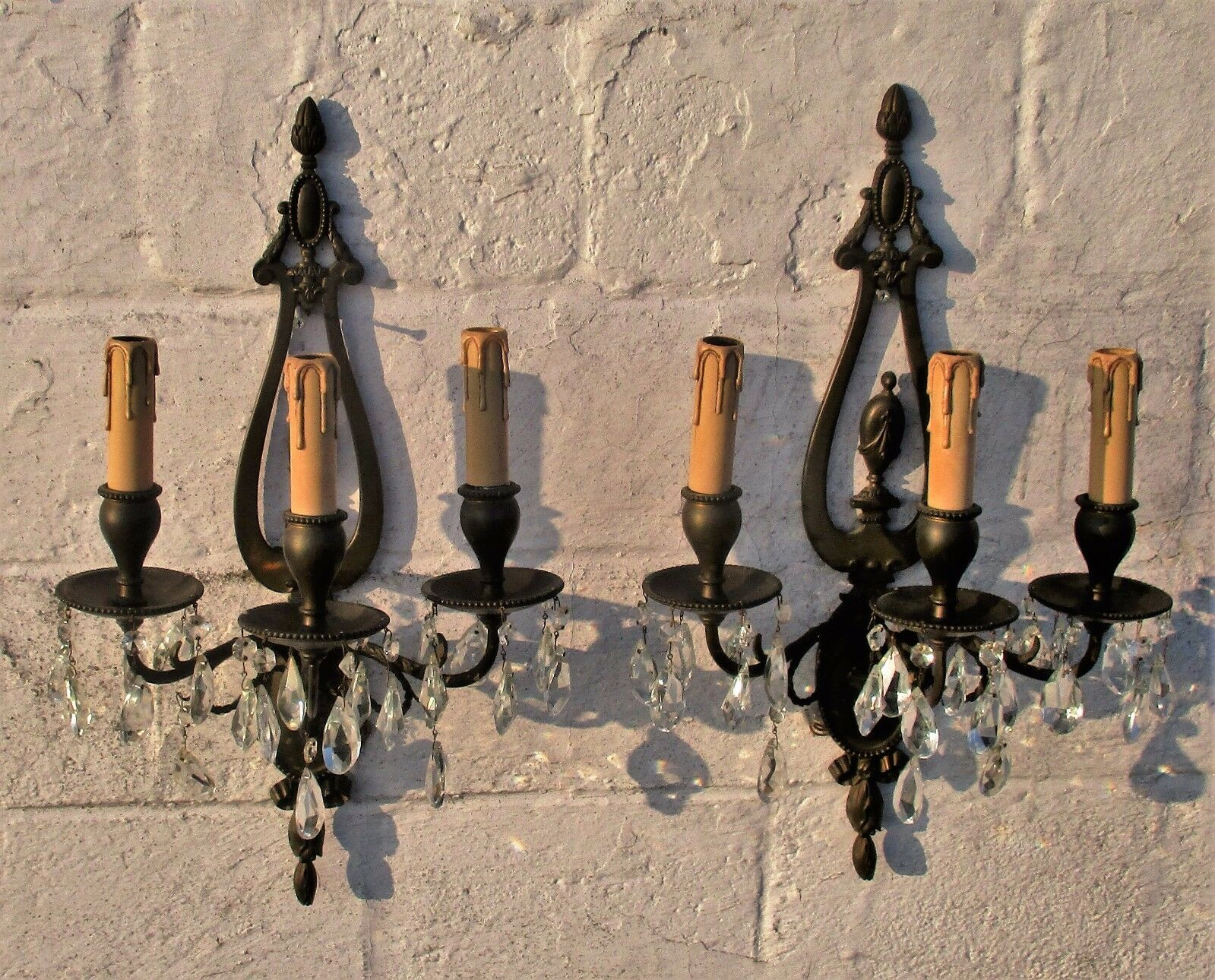 Wall Sconces by E.F. Caldwell Gorgeous Large Pair Three-arm Bronze Prisms