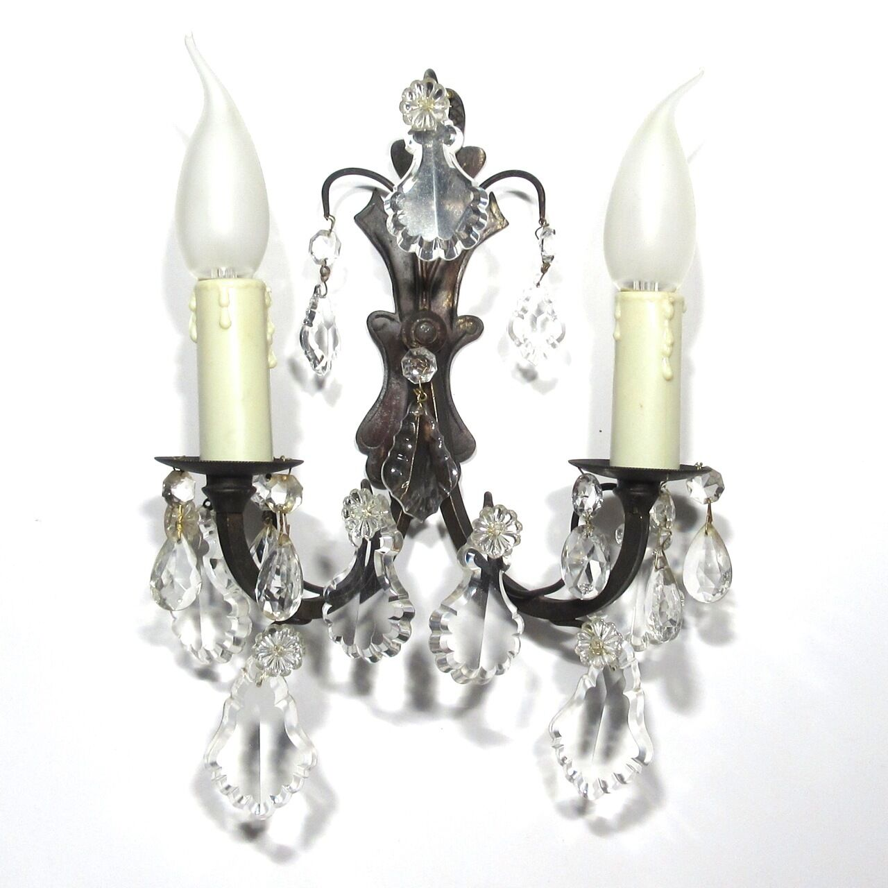 Vintage French Bronze Sconce with Crystal Pendeloque Prisms