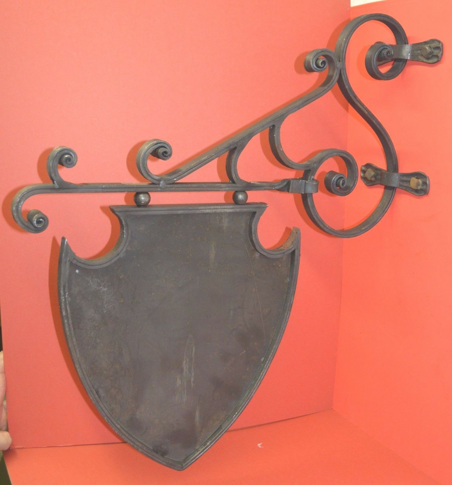 Wrought Iron Hot Formed Crest, Shield, Coat of Arms Sign & Sign Bracket, Holder