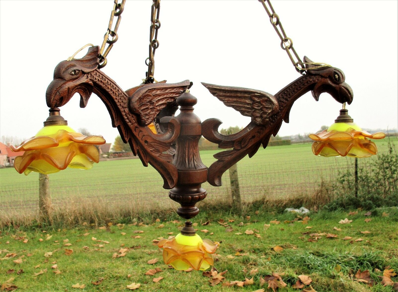 Gothic Hand Carved Wooden Mythical Chandelier Dragons Griffin Shades Flames WOW