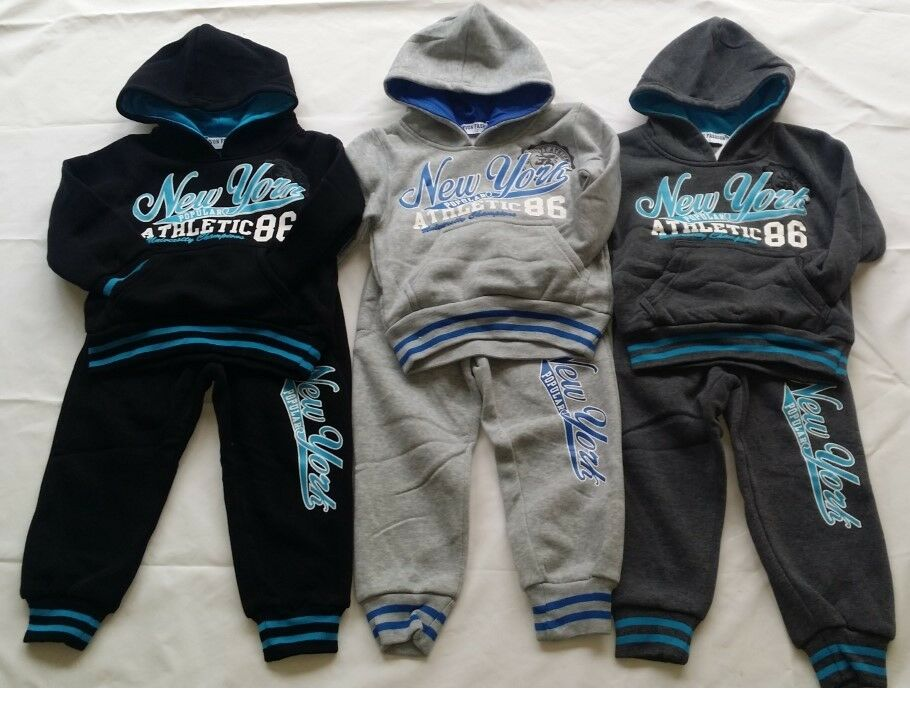 Girls Kids Babies Winter Warm Hooded Top & Joggers Sports Jog Suits Tracksuits