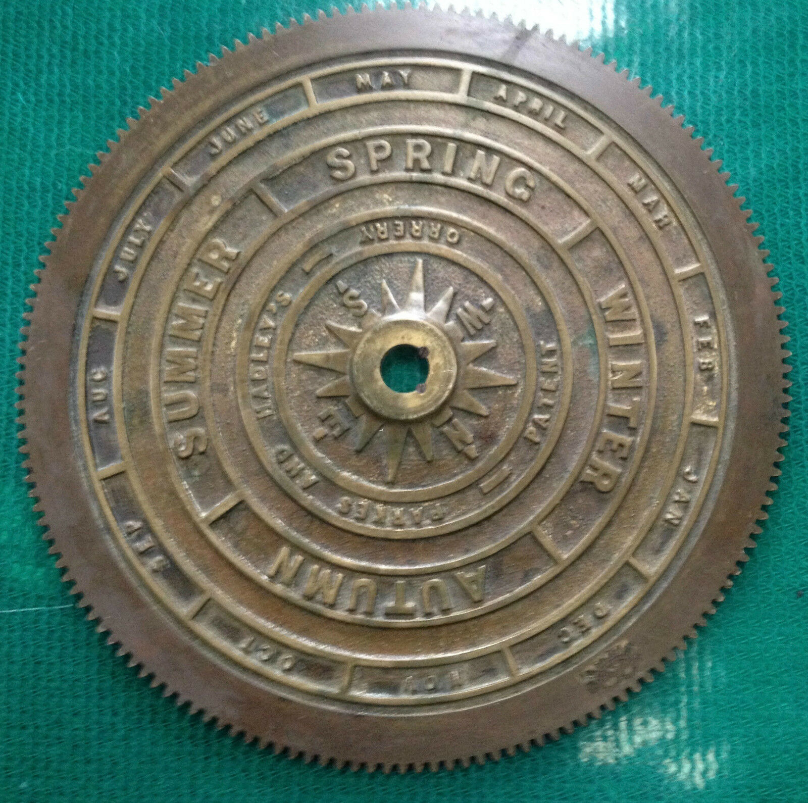 Brass Disc of Orrery by Salter, Parkes and Hadley's Patent